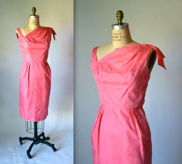 50s 60s Vintage Pink Shift Dress Size Medium in Silk Wiggle Dress// Pink Vintage Bridesmaid Dress Size Small Medium by Hookedonhoney on Etsy