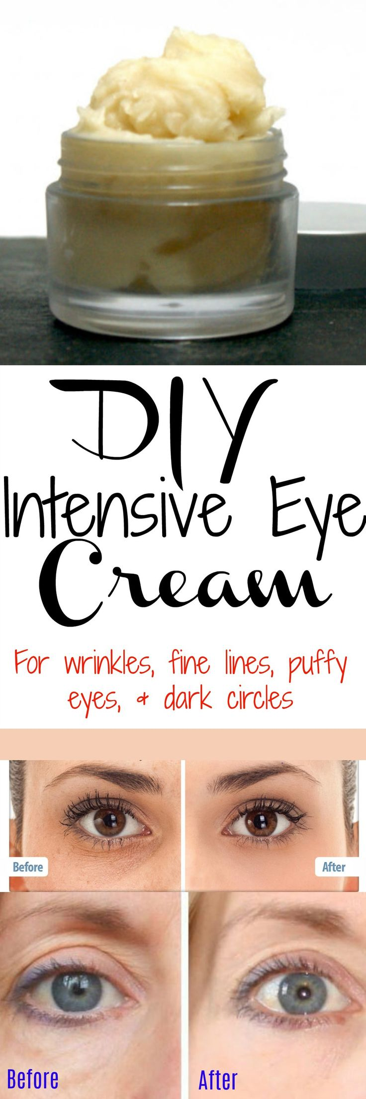 If you're not getting enough sleep, your eyes may look tired, puffy, and saggy. Even if you ARE getting enough sleep, our eyes will start to droop with age, but this homemade intensive eye cream