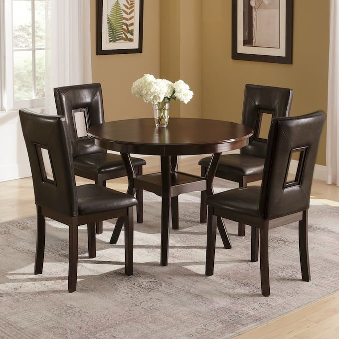 Manchester Round Dining Table And Set Of 2 Rectangle Cutout Dining