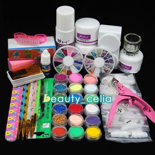 18PC-Acrylic-Powder-Nail-Art-Glitter-Liquid-Tips-Glue-Dish-Brush-Tools-Set-Kit