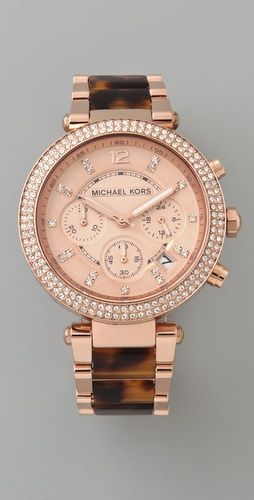 Ummmm rose gold and tortoiseshell in ONE watch? I've died and gone to Michael Kors Heaven.