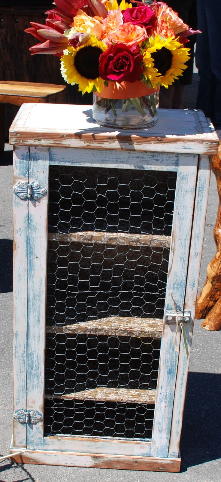 Kitchen Cabinet With Chicken Wire Farmhouse Chic Shabby