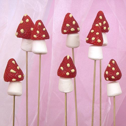 Woodland Fairy Birthday Party Food - Strawberry Mushrooms.