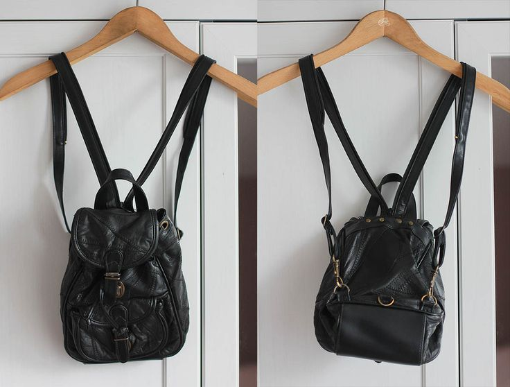 Vintage Leather Backpack Black Small Mini Bag Gold Retro