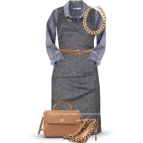 """""""Gray, Chambray & Tan"""" by uniqueimage on Polyvore"""