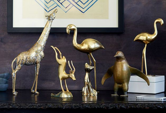 A collection of brass animals on any surface makes for a bold, whimsical statement.