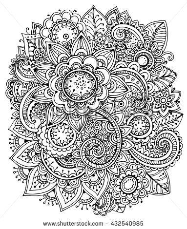 Beautiful monochrome  floral pattern