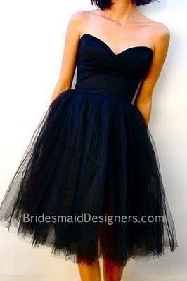 Indigo Short Puffy Tulle Strapless Sweetheart Bridesmaid Dress