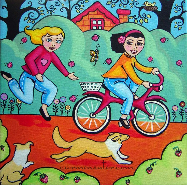 """I want to Ride My Bike - 10""""x10"""" Acrylic on Canvas - Painting by Carmen Suter"""