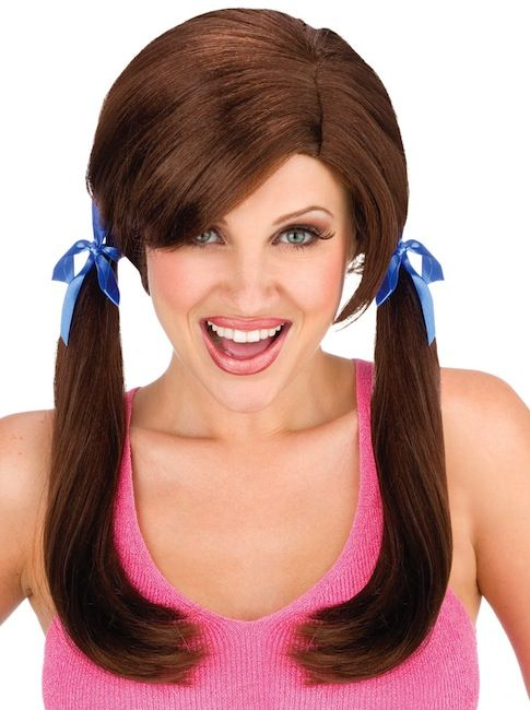 Cheap Date Trailer Trash Brown Pigtail Women Costume Wig