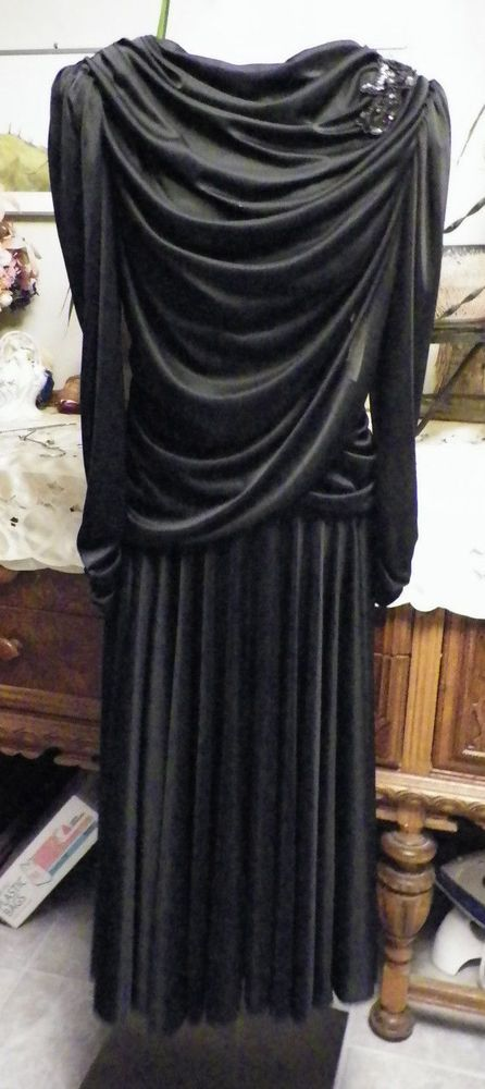 Vintage 80's Filigree Ltd black nylon knit dropped waist prom cocktail dress 13 #FiligreeLtd