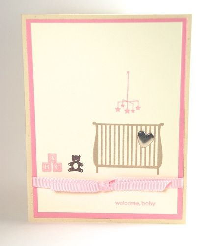Welcome New Baby Girl Handmade Greeting Card With Crib And Teddy Bear | cardsbylibe - Cards on ArtFire