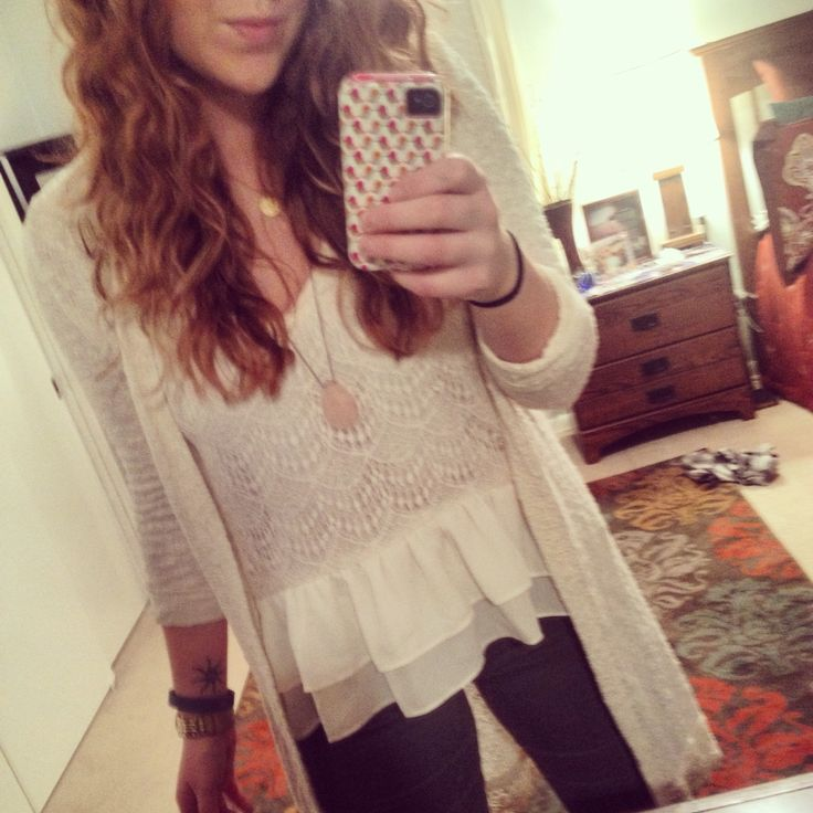 Cream lace and ruffle tank with textured cream crochet cardigan. #stylebyk #kohls #target #juniors #boho #neutrals