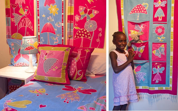 Hand painted bed cover, cushion cover, wall ganging and height chart (stardust cherry blossom) and room tidy - 100% cotton