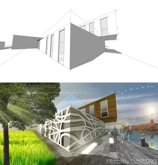 Arquitectura industrializada con fachada orgánicamente modulada. Estudio de materiales con Photoshop CS6.