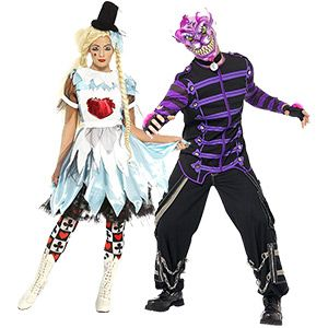 alice in zombieland halloween alice and scary cheshire cat make a great couples costume for