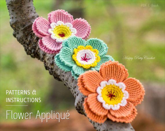 Crochet Flower Pattern  Crochet Flower by HappyPattyCrochet