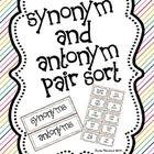 Synonym and Antonym Pair Sort. Freebie.