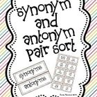 This is a quick Synonym and Antonym Pair Sort that can be used whole group or as a student workstation.  Simply have students sort the word pairs t...