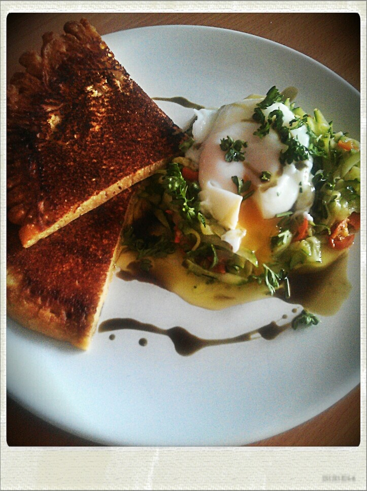 Chickpea Soka, butter saute chilly zucchini, lots of herbs and poched egg...