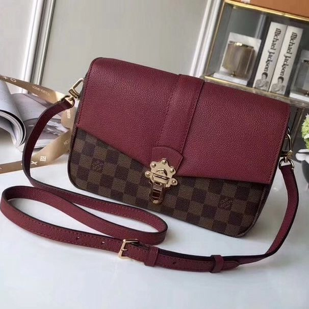 ef0a4123412d Louis Vuitton Damier Ebene Canvas Calfskin Clapton PM Bag Raisin N42442  2018 Louis Vuitton Crossbody