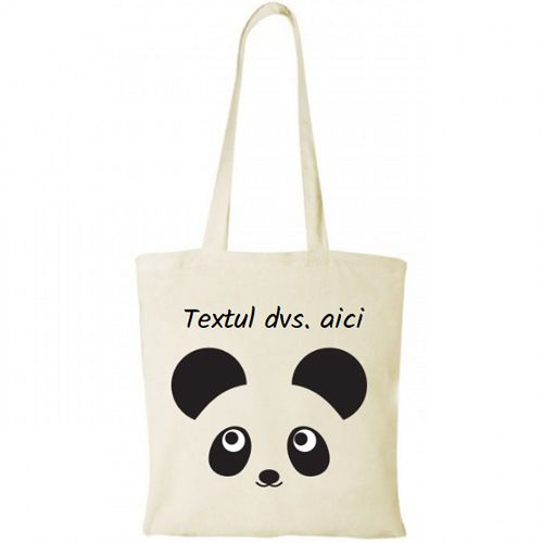 Sacosa personalizata Panda    Sacosa simpatica cu un urs panda. Personalizati aceasta sacosa cu textul dvs