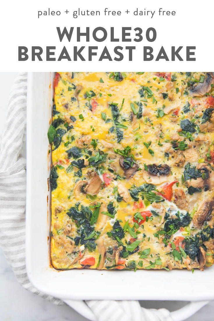 Whole30 Breakfast Casserole with Sausage, Eggs, Spinach, and Mushrooms