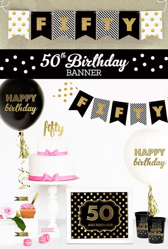 Happy 50th Birthday in Black & Gold Glitter! Birthday Banners are great ideas for decorations for a stylish a 50th birthday party! Gold Glitter Banners