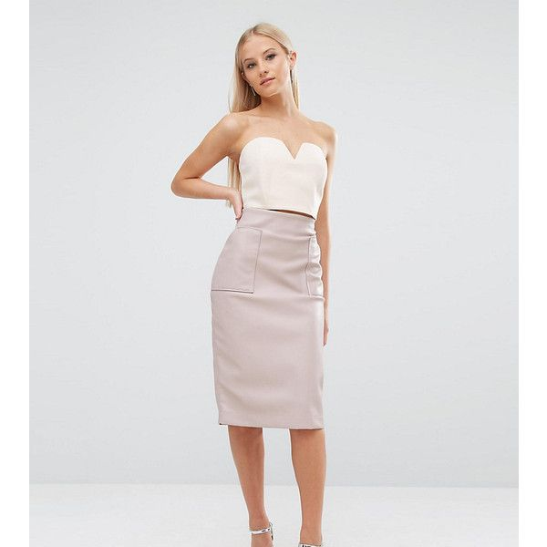 ASOS PETITE PU Pencil Skirt with Pocket Detail ($22) ❤ liked on Polyvore featuring skirts, petite, pink, asos, petite pencil skirt, petite skirts, knee length pencil skirt and zipper pencil skirt