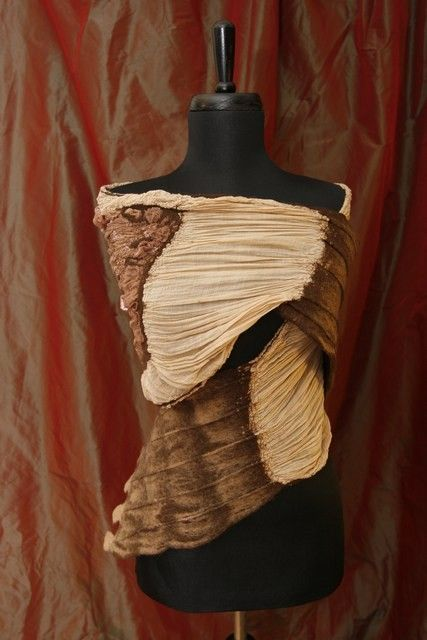 Items similar to elegant nuno felted shawl in brown on Etsy