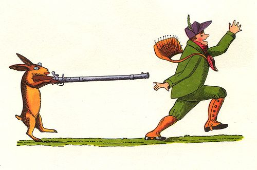"""Illustration from the story """"Die Geschichte von dem wilden Jäger"""" (The Story of the Wild Huntsman) in Der Struwwelpeter in which """"a rabbit steals a hunter's rifle and eyeglasses and begins to hunt the hunter. In the ensuing chaos the rabbit's child is burned by hot coffee."""" (from Wikipedia)"""