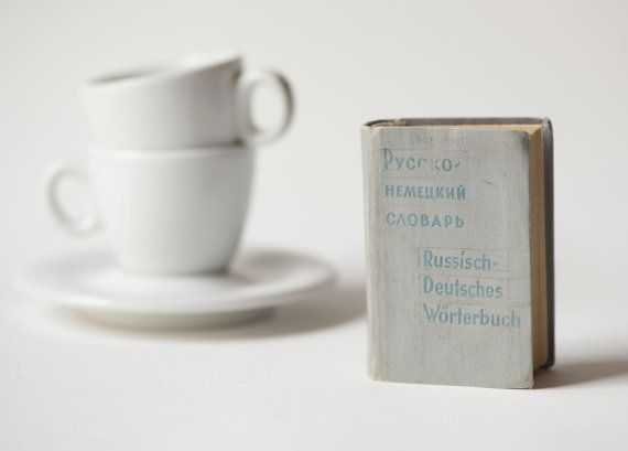 Miniature Russian to German Dictionary  Grey Soviet time by 4Rooms