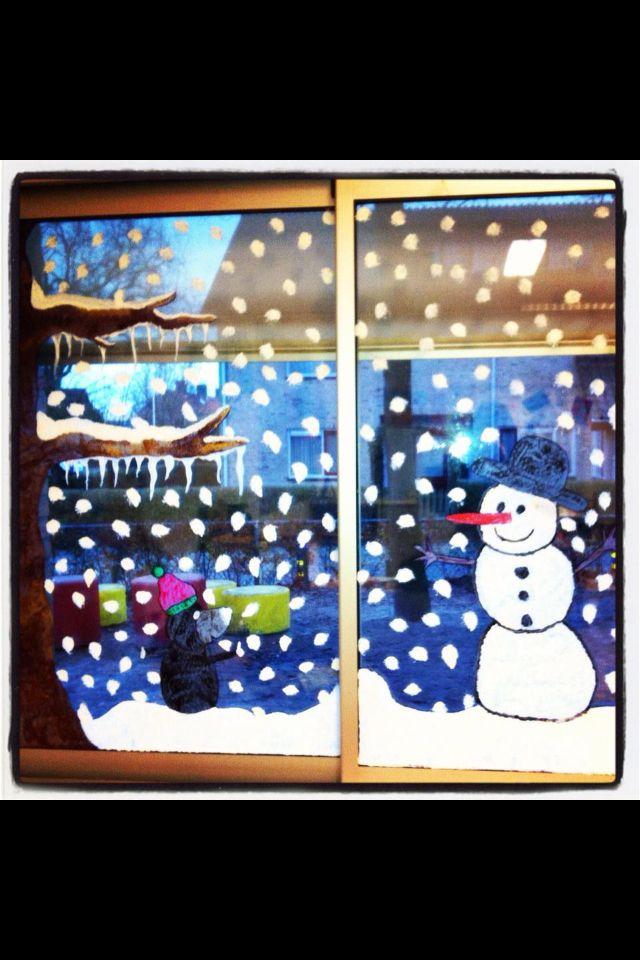 Raamschildering winter