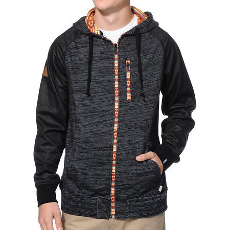 Strike gold with the unique and comfy Dravus Plunder charcoal Aztec zip up hoodie. Turn haters into jealous onlookers in a heather charcoal body, speckled black faux leather raglan sleeves, tribal print zip up closure and zip chest pocket, two front hand pockets, and a tribal print lined adjustable hood.