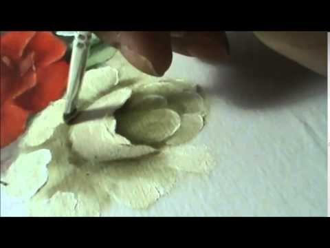 Rosa Branca - Pintura em tecido