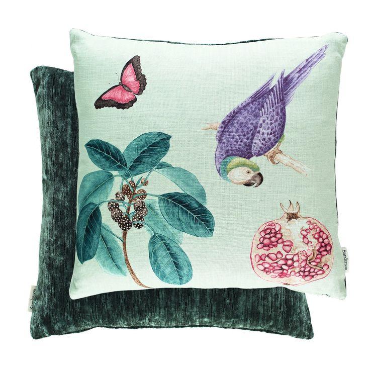 Sanderson Cushions - Filled Cushion Capuchins Parrott Sea Green 50cm X 50cm