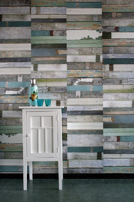 Salvaged wood wallpaper