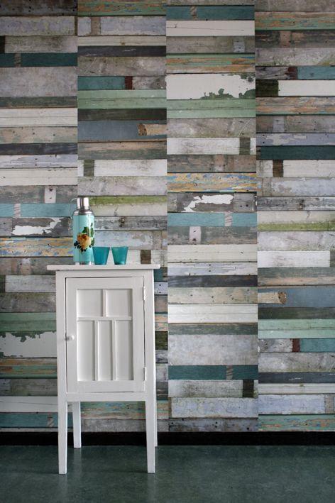 Salvaged wood wallpaper