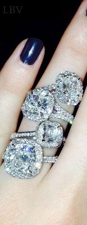 HENRI DAUSSI  vintage platinum diamond rings ༺✿♥»jewels❤✿ nyrockphotogirl -✜❤✿ڿڰۣ