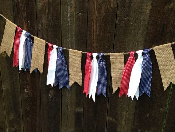 Rustic Patriotic 4th of July Stars and Stripes Burlap Red, White, Blue, Silver Fabric Garland - Shabby Chic- Independence Day - America on Etsy, $16.00