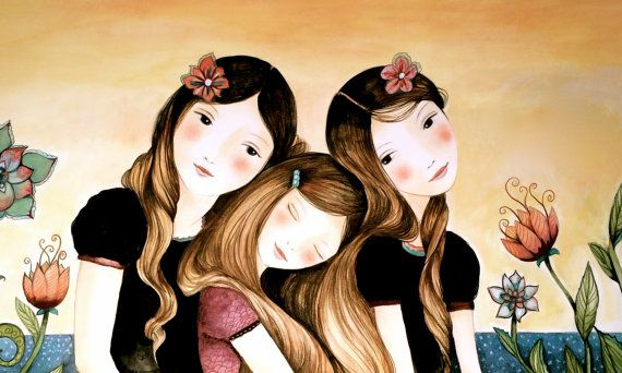 Impresión tres hermanas en el arte al atardecer