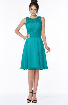 aa5caa3ff8 ColsBM Helen Aqua Glamorous A-line Scoop Zip up Chiffon Sash Bridesmaid  Dresses