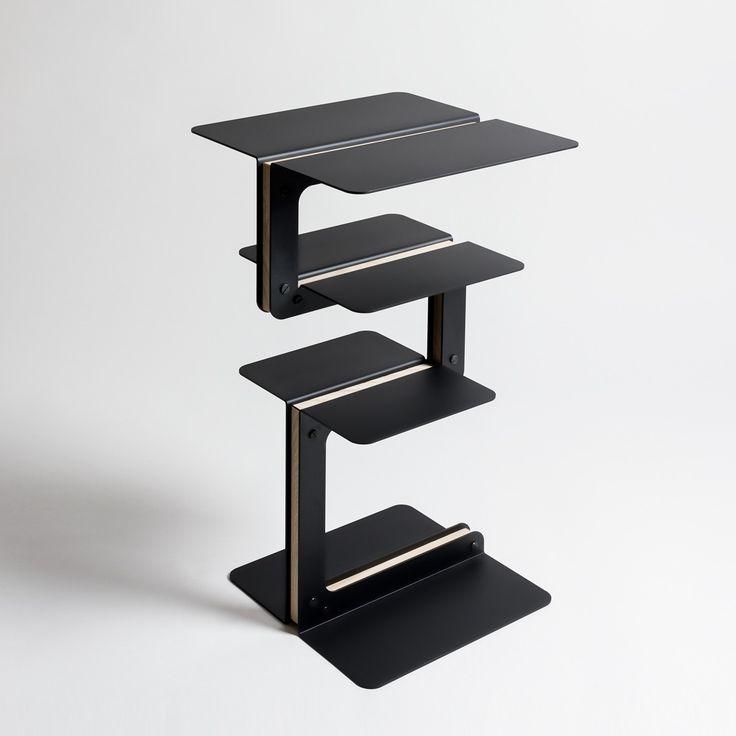 Tavolino, libreria bassa Triplane, colore nero. Danese Milano.