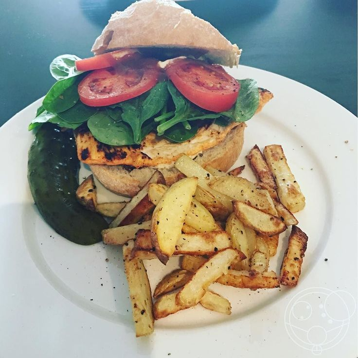 #homecooked chicken burger with oven baked fresh cut chips