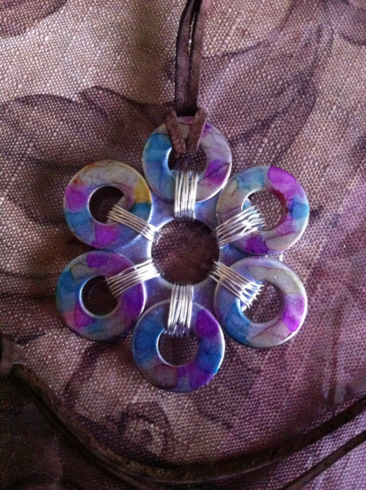Alcohol ink washer/flower necklace | Jewelry making ...