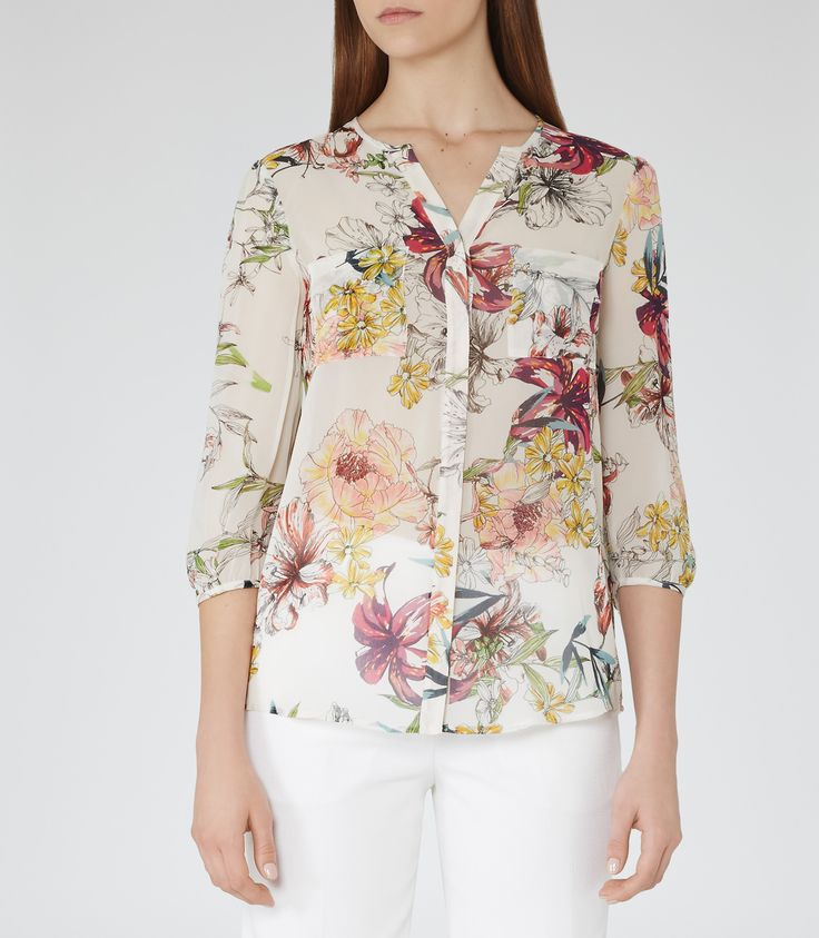 Womens Sugar Printed Silk Top - Reiss Tiffany Print
