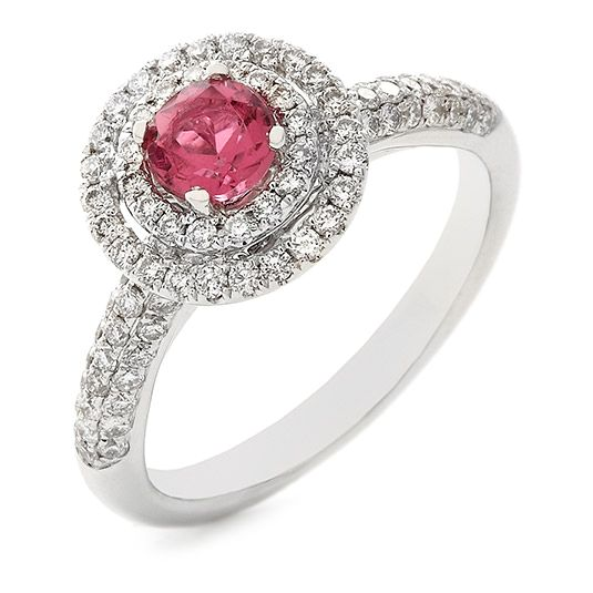 18 CARAT WHITE GOLD DIAMOND AND PINK TOURMALINE RING I think this is the ring that princesses gets when they get engaged #fairytale