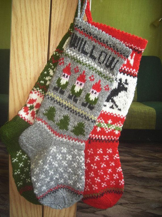 hand knitted christmas stocking deer stocking red white black green ornaments gnomes stocking