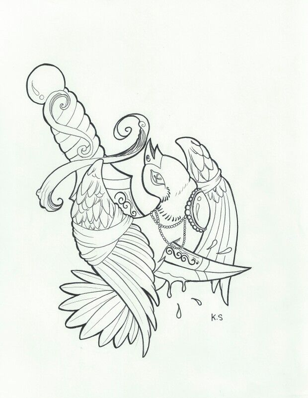 Traditional Tattoo Line Drawing : A sparrow represent freedom as life has it always