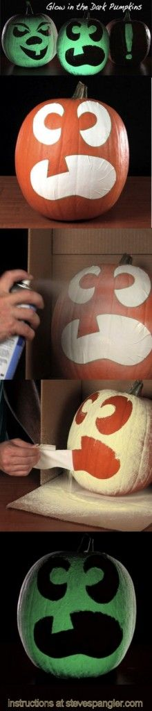 Halloween Pumpkin Carving Hacks - forget the carving! Use glow in the dark spray paint!!